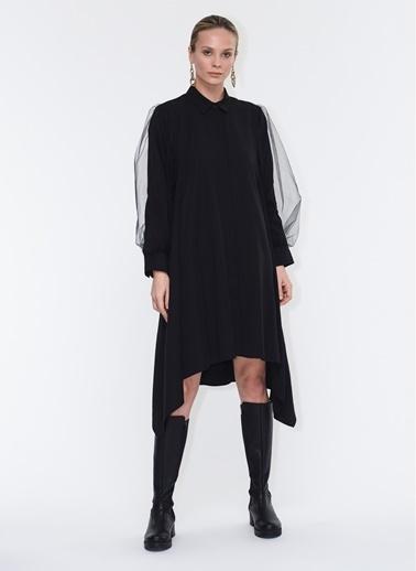 Tuba Ergin Tül Kol Detaylı Mare Elbise Siyah